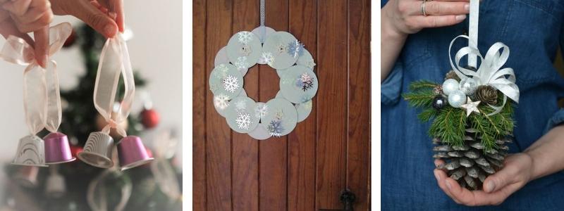 decoración navideña reciclando objetos de casa